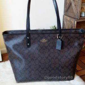COACH SIGNATURE COATED CANVAS LARGE CITY ZIP TOTE